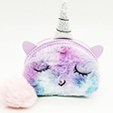 Unicorn Faux Fur Mini Coin Zipper Wallet