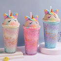 Unicorn Ice Cup Straw Water Bottle & Milk Cup