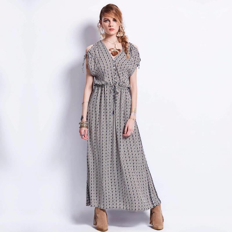 32c29480b673 Deep V Neck Ankle Length Elegant Dress