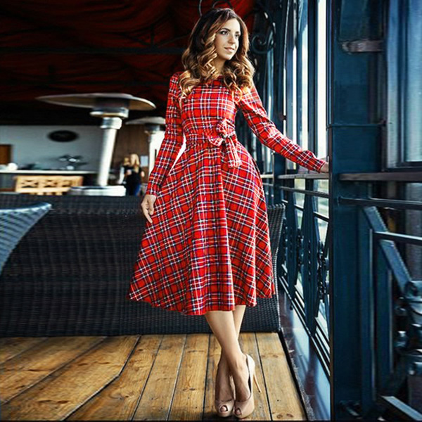 1cc23cc5d3 Red Plaid English Maxi Dresses, Western Wear, Dresses. Online Fashion  Shopping Store in India