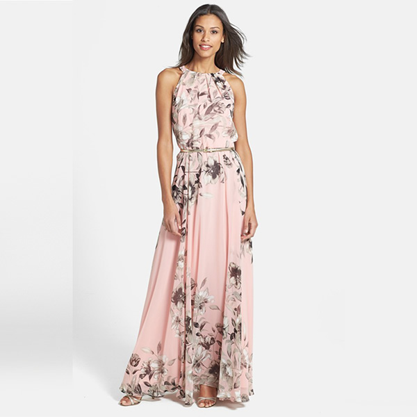 Sweet Pink Halter Neck Floral Maxi Dress,