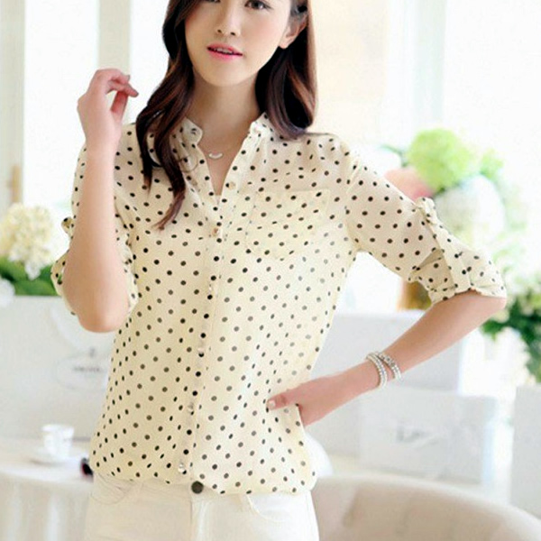 c1f01d6f644b7a Korean Style Dotted Long Sleeve Shirt , Western Wear, Shirts. Online ...