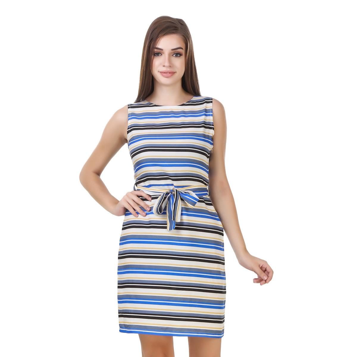 a801734a16fbc Stylish Horizontal Stripes Crepe Sheath Dress, Western Wear, Dresses. Online  Fashion Shopping Store in India