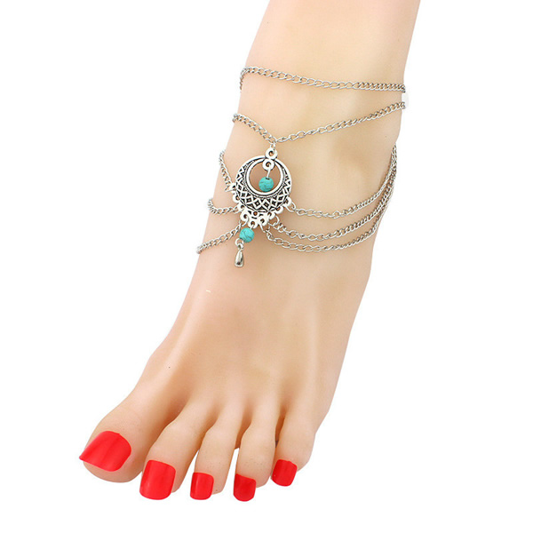 vintage turquoise beads anklet one leg jewellery