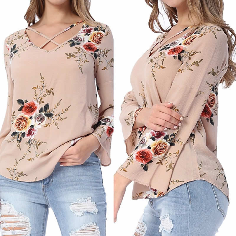 9d2b4f2d9944 Designer Long Sleeve Floral Top