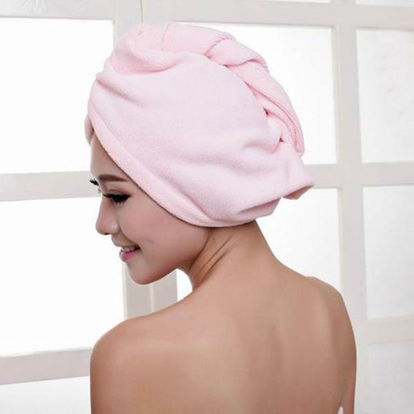 Light Pink Quick Drying Ladies Hair Dry Hat Cap More Bath