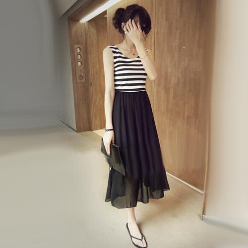 Trendy Striped Chiffon Ankle Length Maxi Dress Western