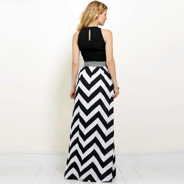 1ea69e6f60 Trendy Black Patchwork Floor-Length Maxi Dress, Western Wear ...