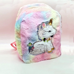 Cute Unicorn Faux Fur Rainbow Shoulder Backpack
