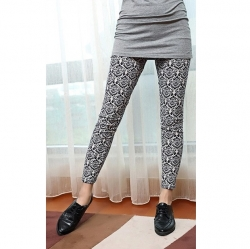 Milk Silk Stretch Blue Flower Leggings