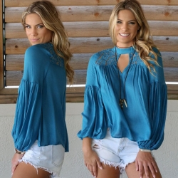 Loose Long Puff Sleeve Cotton Top