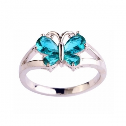 Fashion Classic Butterfly Shiny CZ Silver Ring