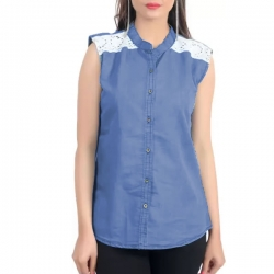 High Neck Front Buttoned Soft Denim Lace Top