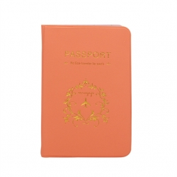 Orange PU Leather Passport or ID Card Cover Holder (Be Eco Traveler for Earth )