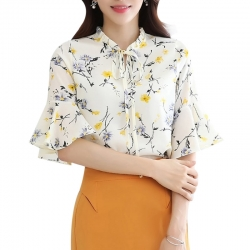 Ruffles Sleeve Shirts Lace Up O-Neck Floral Print Top