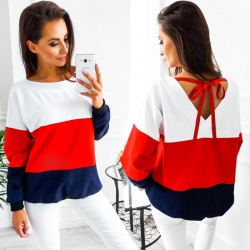 O-Neck Long Sleeve Loose Back V Collar Sweatshirt