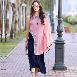 Pink n Blue Shawl Style Georgette Embroidered Kurta