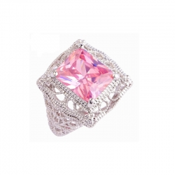 Littledesire Pink Sapphire CZ 925 Sterling Silver Ring