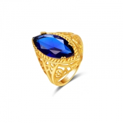 Littledesire Marquise Cut Blue Zircon Yellow 925 Ring