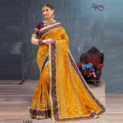 Littledesire Mustard Embroidered Bangalori Party Wear Saree