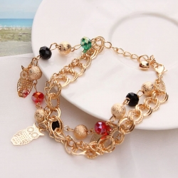 Littledesire Owl Pattern Multi Stone Crystal Golden Chain Bracelet