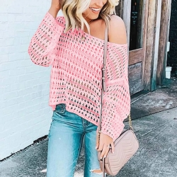 Littledesire Hollow-Out Pullover Knitted Crop Sweater Top