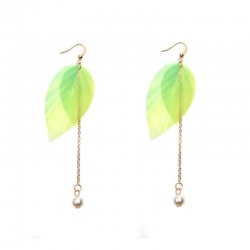 Littledesire Green Leaf Imitation Pearl Long Earrings