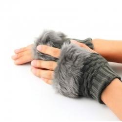 Winter Gloves Faux Rabbit Fur