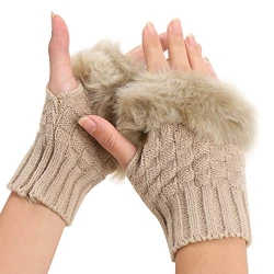 Winter Gloves Faux Rabbit Fur