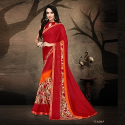 Littledesire Floral Rennial Printed Red Saree With Blouse