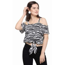 Printed With Tie-up Belt Cotton Blend Trendy Top