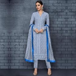 Embroidered Chikankari Straight Blue Kurta & Bottom With Dupatta