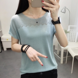 Designer Round-Neck Short Sleeve Top