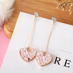 Heart Shape Pink Sequin Long Earrings