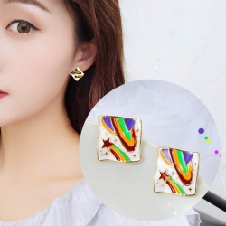 Cute Colorful Square Small Stud Earrings