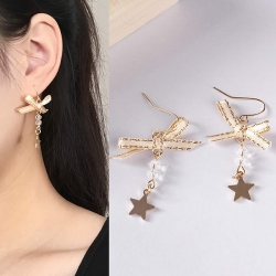 Sweet Bow Five-Pointed Star Pearl Earrings
