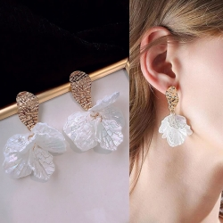 White Shell Flower Petal Drop Earrings