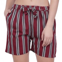 Women Striped Printed Regular Fit Red Shorts