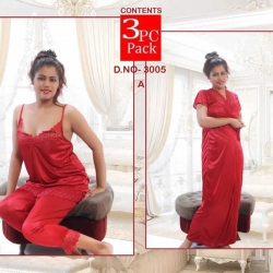 Satin Top & Capri Long Wrap Gown & Nighty 3pcs