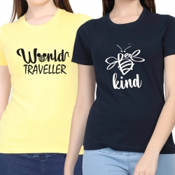Cotton Half Sleeves Printed T-shirt for Women Pack of 2