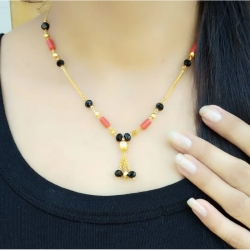 Alloy Designs Golden Plated Black Pearls Chain Mangalsutra