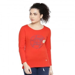 Printed Full Sleeves Round Neck T-shirt  for Women