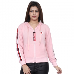 Side Striped Full Sleeves Hooded Sweatshirt for Women