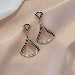 Fan Shape Crystal Rhinestone Earrings