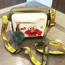 ELMO Cartoon Pu Leather Shoulder Messenger Bag