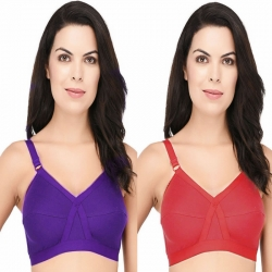D-Cup Cotton Hosiery Full Coverage Bra (Pack of 2)