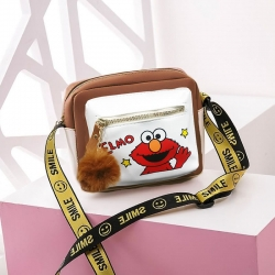 ELMO Cartoon Pu Leather Shoulder Messenger Bag
