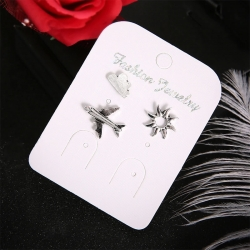Creative Sun Cloud Airplane Geometric Stud Earrings 3 Pcs