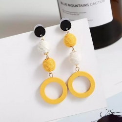 Wood Round Hemp Rope Ball Hit Color Drop Earrings