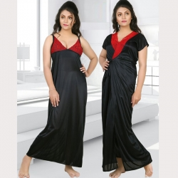 Women Gauge Soft Silky Satin Nighty - 2 pcs